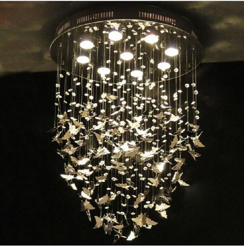 Modern K9 Crystal Pendant Lights Hanging Lamp Chrome Butterfly for Home Indoor Decor Bedroom Caboche Living Room Light Fixture