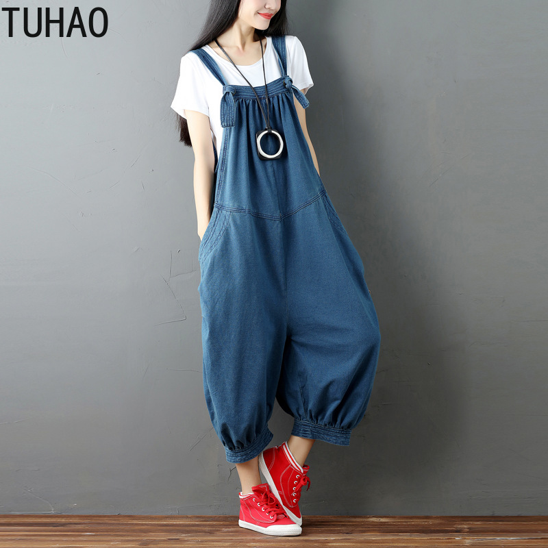 TUHAO Woman's Jumpsuits 2019 Summer Women Retro SOLID Wide Leg Bib Denim Overalls Jean Jumpsuits Female Large Size Rompers LLJ