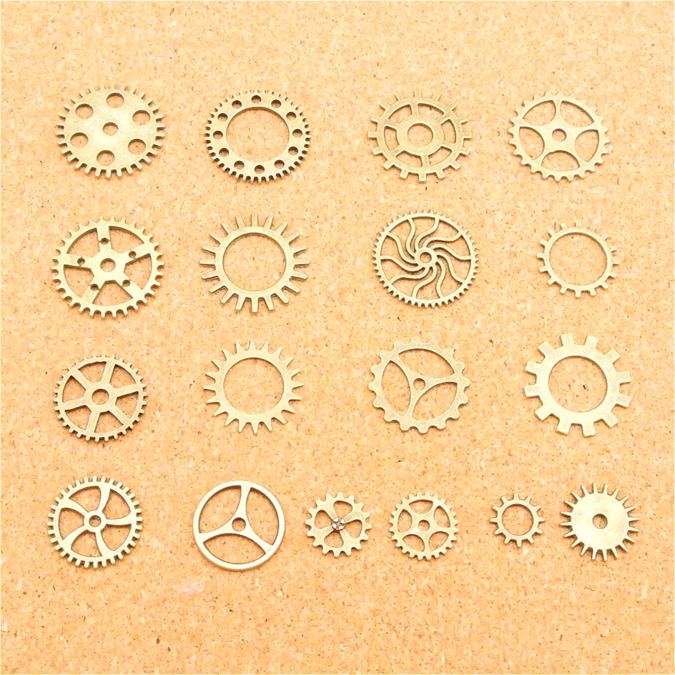 18pcs Vintage Antique Bronze Silver Zinc Alloy Mixed steampunk style gear Charms Pendant Fit Handmade Jewelry DIY