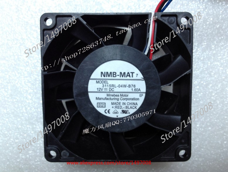 NMB-MAT  3115RL-04W-B76, EQ1  DC 12V 1.60A   80x80x38mm Server Square  fan nmb mat 3110kl 04w b49 b02 b01 dc 12v 0 26a 3 wire server square fan