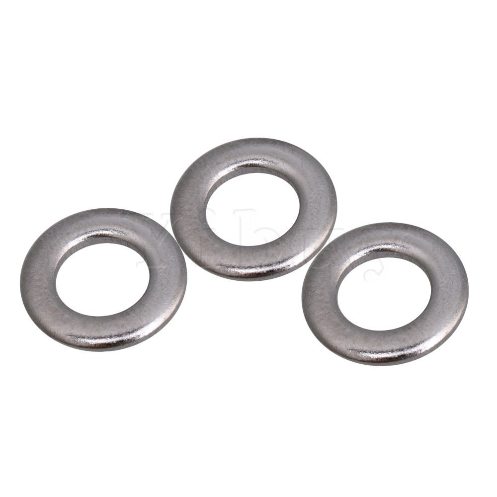 Yibuy 0.12x1.05cm Round Flat Washers for Drum Screws Drum Tension Rods Silver Metal Pack of 10