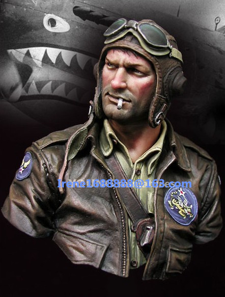 Wwii Fighter Pilot Resin Cast Bust 1 10th Scale