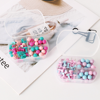 цена на Makaron Color Studs Boxed Modelling Round Studs Photo Wall nails Mixed Package cute Push Pin Push Puns Push Pins For Cork Board