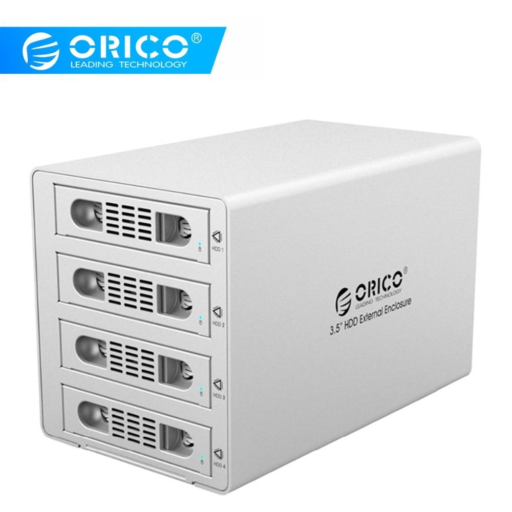ORICO 3549RUS3 без инструментов алюминиевый 4 отсек 3,5 SATA2.0 USB3.0 & eSATA HDD внешняя док-станция RAID функция 4*8 ТБ HDD Чехол