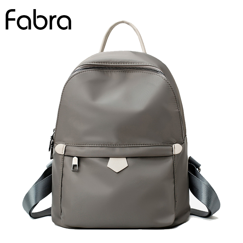 Fabra Fashion Solid Color Small Women's Backpack Back Pack Shoulder Bags for Teenager Girl Daypacks Waterproof Nylon Travel Bag