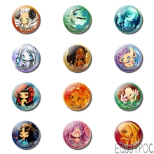 12pcs Cartoon 30MM 25MM Fridge Magnet 12 Constellations Zodiac Sign Glass Note Holder Magnetic Refrigerator Stickers Home Decor