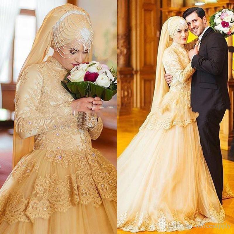 Buy luxury gold long sleeve muslim for Ethiopian traditional wedding dress 2017