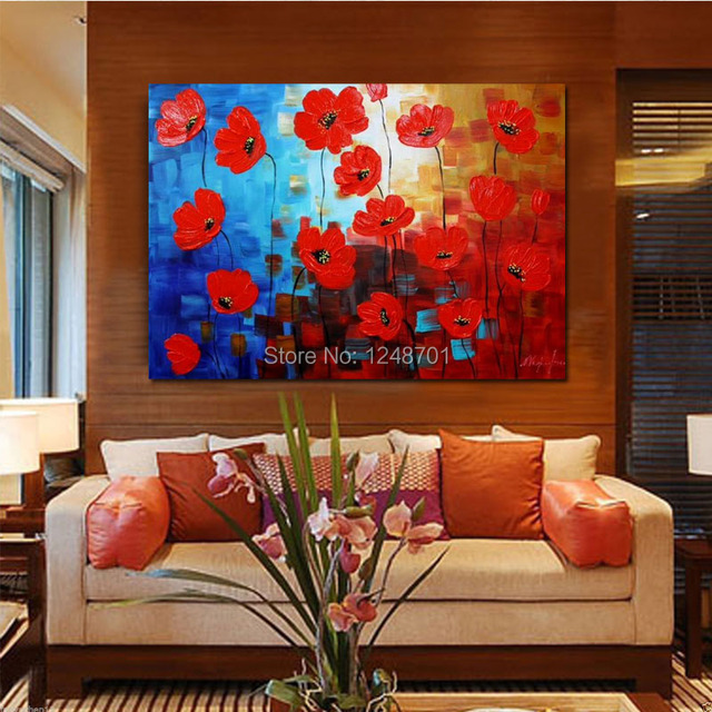 Hand Painted Abstract Red Flower Scenery Canvas Oil Painting Thick Textured Canvas Wall Art Painting Living & Hand Painted Abstract Red Flower Scenery Canvas Oil Painting Thick ...