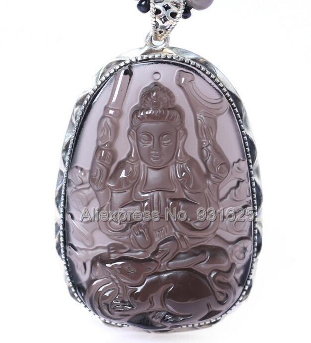 925 argent Sterling glace naturelle obsidienne claire sculpté chinois zodiaque Rat amulette kwan-yin pendentif chanceux + perles collier bijoux