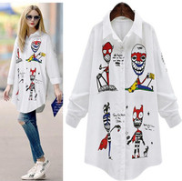 Streetwear Loose Blouse Woman New Summer Graffiti Rock Geek Blouses Women Casual Colorful Cartoon Printing Unique