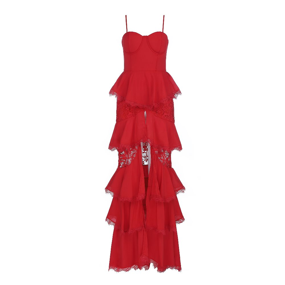 Dentelle Club Élégant Rouge Noël Bandage Robes De Celebrity Longues Femmes Fashion Night Party Sexy OwCnB
