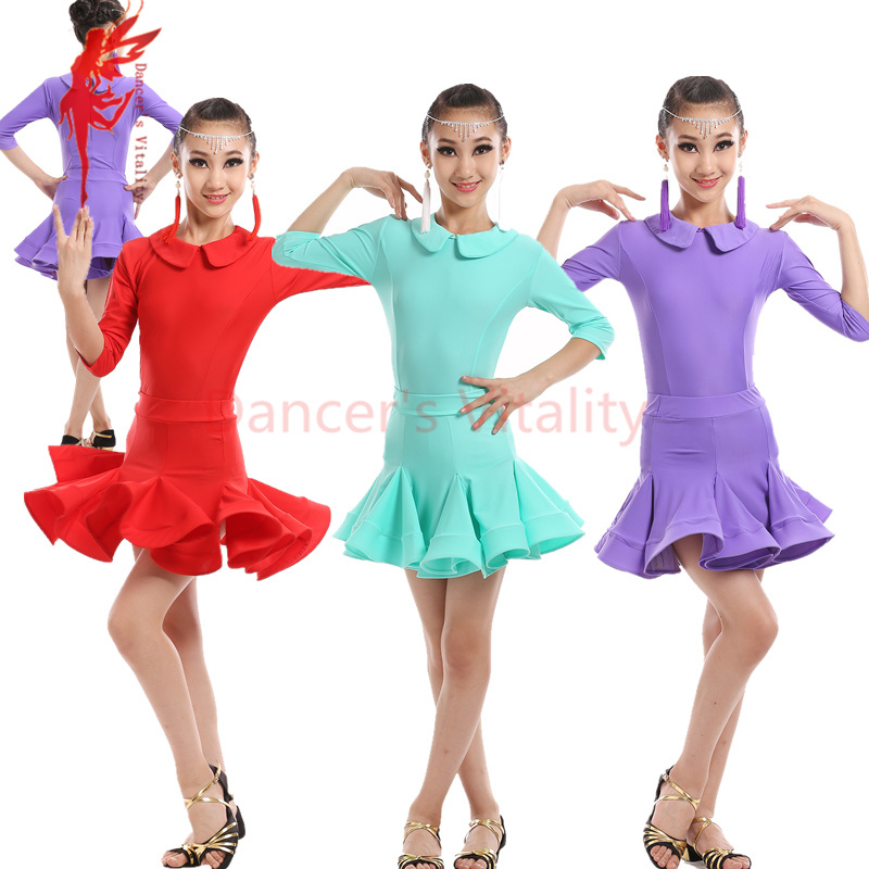 4c9775080 NEW spandex Girls latin dance costumes senior half sleeves top+skirt 2pcs latin  dance set