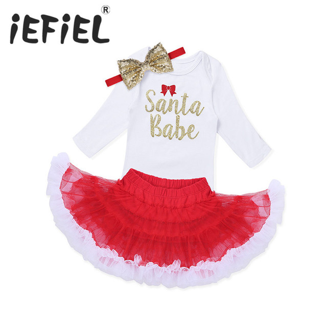 41009b725e1 iEFiEL Long Sleeves Newborn Infant Baby Girls Christmas Outfit Santa Babe  Romper with Tutu Skirt Headband Set for Birthday Party