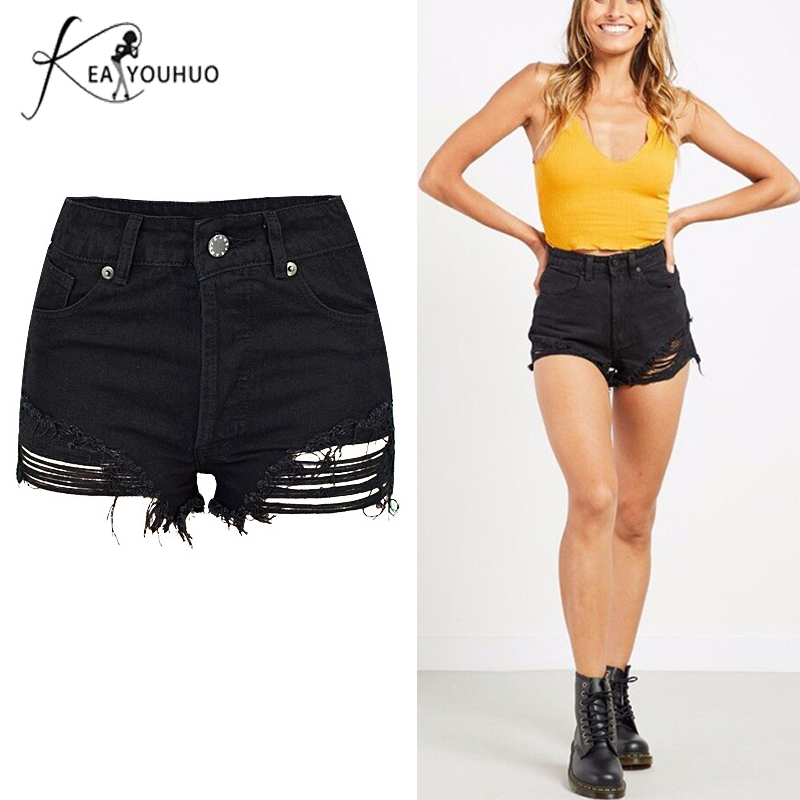 New 2018 Summer Sexy Black   Shorts   Jeans Female   Shorts   For Women High Waist Ripped Jeans Woman Denim   Shorts   Women Plus Size Hole