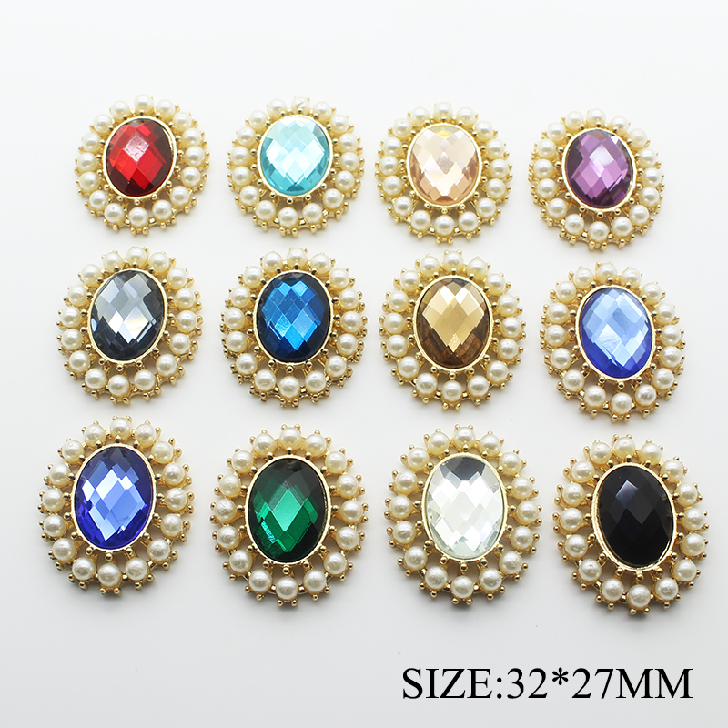 10pcs /lot 32*27MM Zinc Alloy Snap Button Flat Back Rhinestone Buttons For Clothes Decorative Button For Hair Accessories Decor