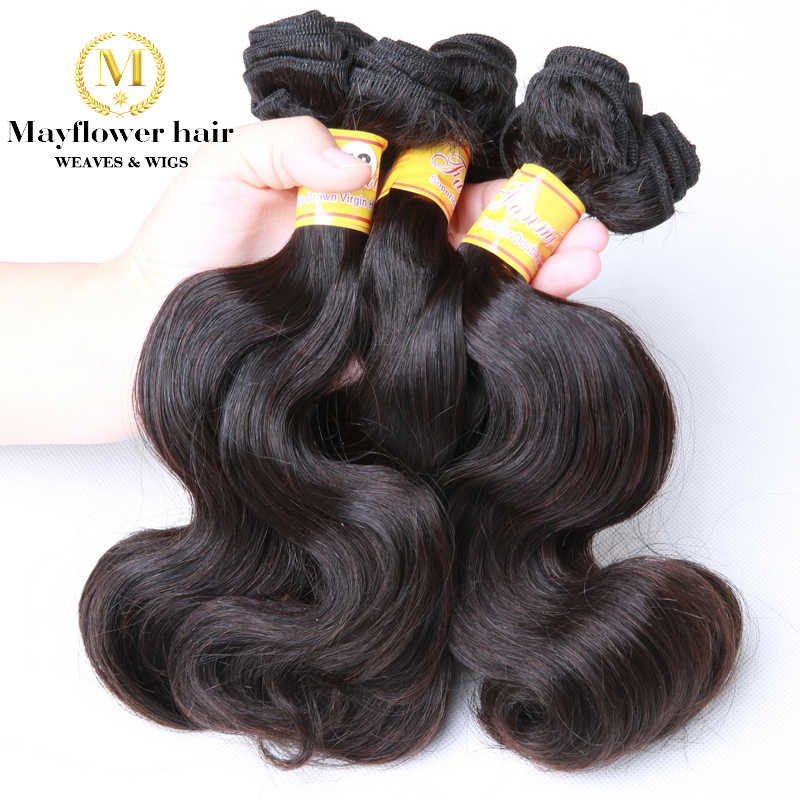 """Mayflower Double drawn Funmi hair body wave 1/2/3/4 bundles from 10-18"""" mixed length Remy human hair natural color can be dye"""