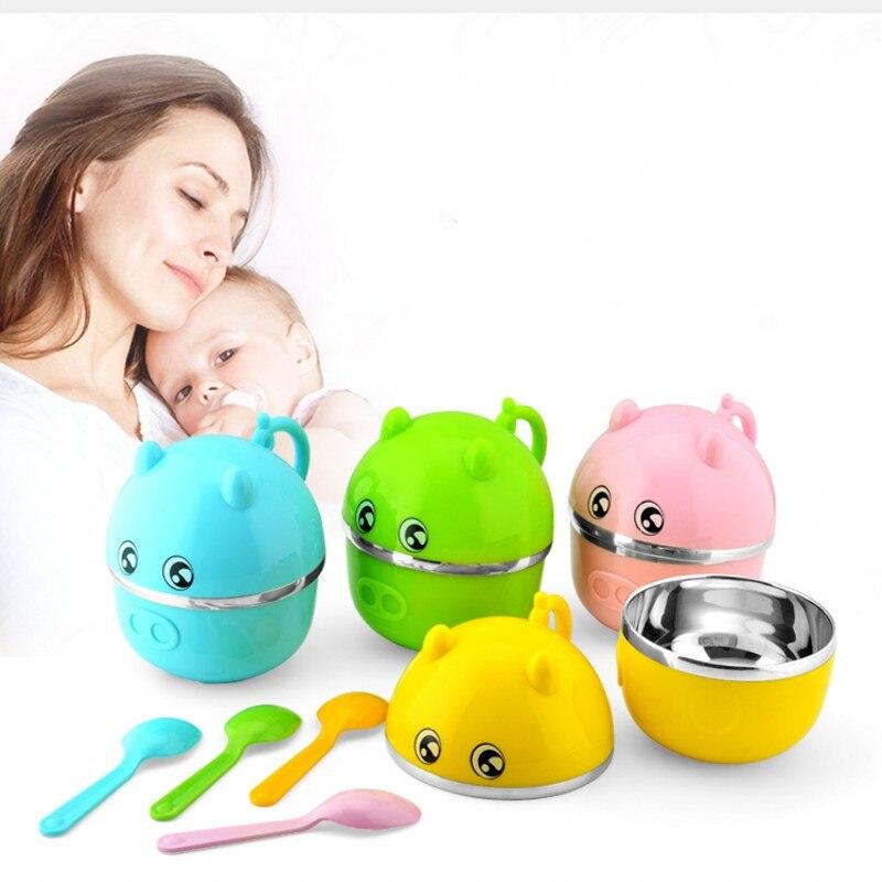 Baby bowl baby cartoon baby tableware baby stainless steel tableware set portable food supplement bowl + spoon child feeding tab