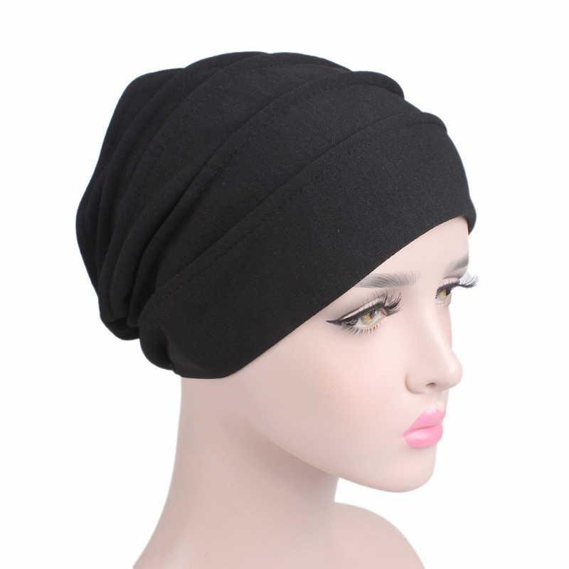2019 Новый Эластичный Тюрбан из хлопка однотонная шляпа женский теплый зимний головной платок капот внутренние шапочки под хиджаб для женщин мусульманская оберточная головка