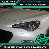 Car Styling Head Lamp case for Toyota FT86 GT86 2013 2014 Headlights FT86 LED Headlight H7 D2H Hid Angel Eye Bi Xenon Beam