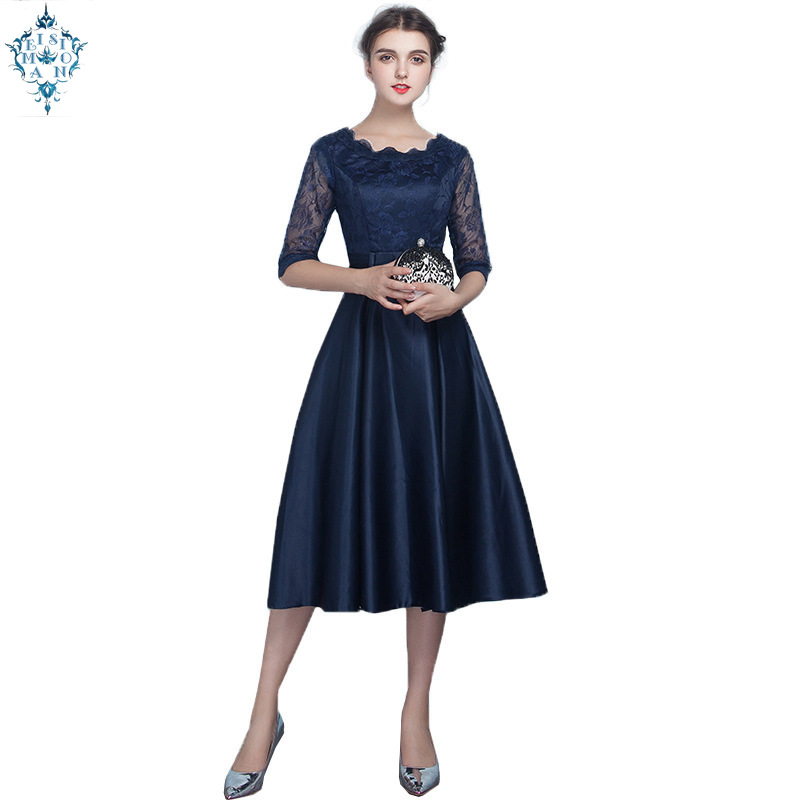Ameision Navy blue Champagne black Red Medium length style Evening Dresses Party Prom Dress Gown half sleeve women clothing
