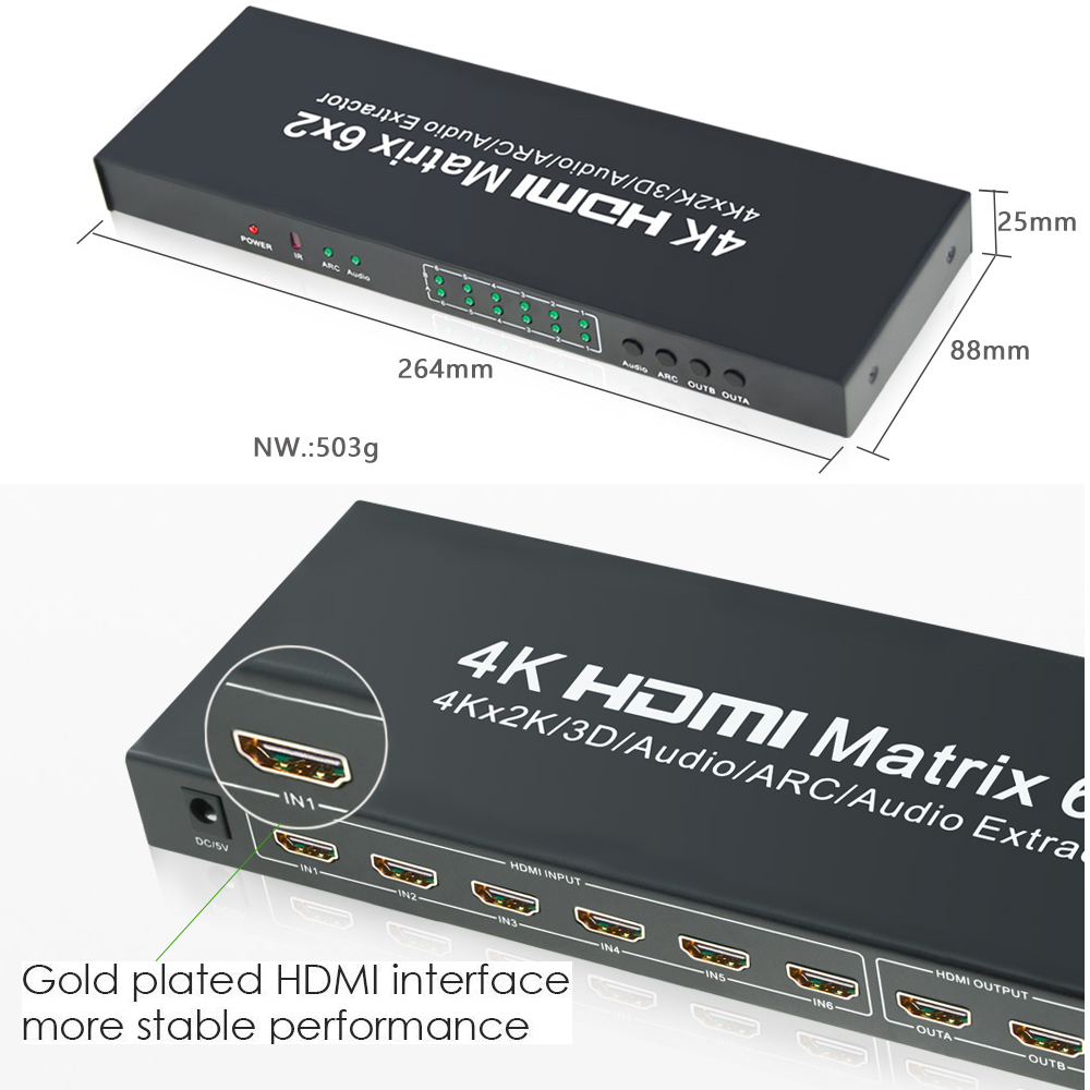 Aikexin 4K HDMI Matrix 6 X2 Switch Splitter Input 2 Ouput HDMI14 Video Support Optical Audio Extractor For DVD In Cables From Consumer