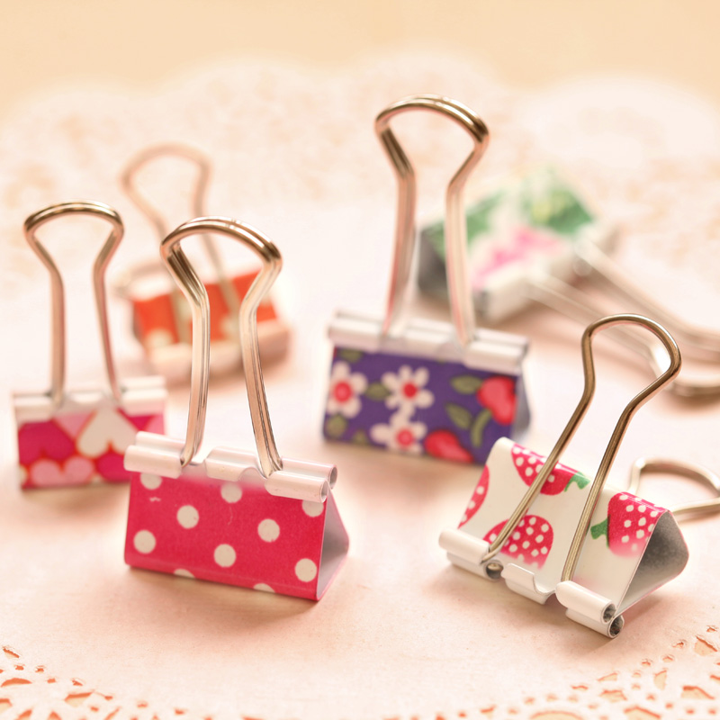 24 Pcs/Lot Cute Kawaii Metal Photo Holder Paper Clips Office School Accessories Clip Binder Paperclip Clamps Stationery 19mm