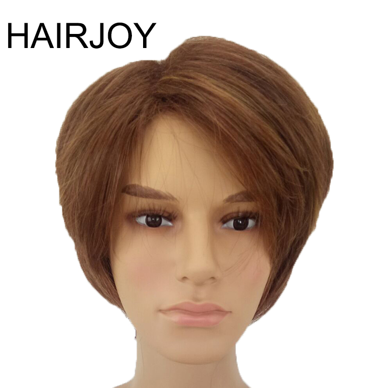 HAIRJOY Man  Layered Synthetic Hair Wig  Short  Brown  Wigs Free Shippingwig brownwigs freewigs free shipping -