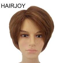 Hairjoy Man Gelaagde Synthetisch Haar Pruik Kort Bruin Pruiken Gratis Verzending
