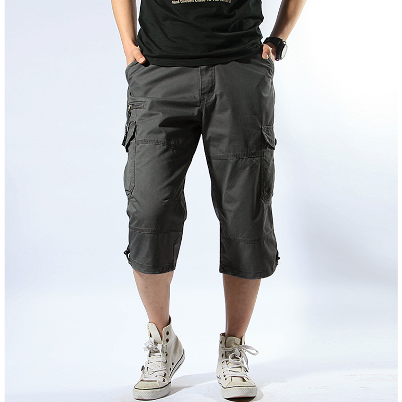 Large Size Men's Multi Pocket Loose Cargo Baggy Shorts Summer Outdoor Sports Camping Knee Length Military Tactical Short Trouser