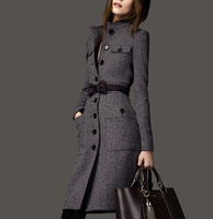 2017 Winter Fashion Women'S Slim Medium Long Plus Size Cashmere Overcoat Woolen Outerwear Wool Blends Coat