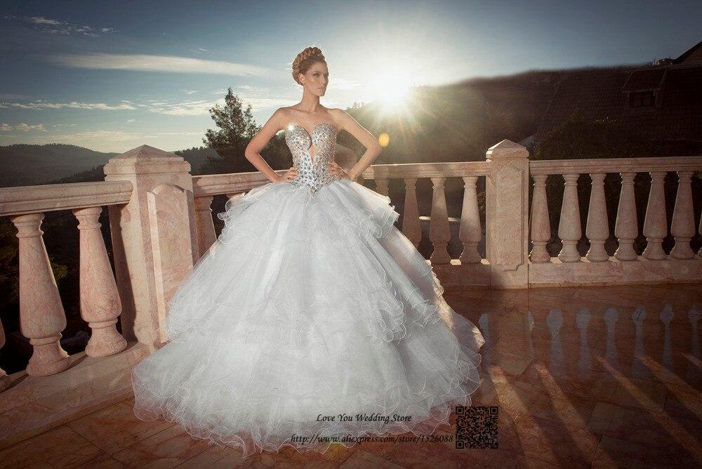 Vestido de Casamento Luxus Brautkleider Kristalle Ballkleid Braut ...