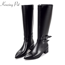Krazing Pot cow leather pointed toe handsome winter shoes med heels women streetwear metal buckle riding knee-high boots L8f5