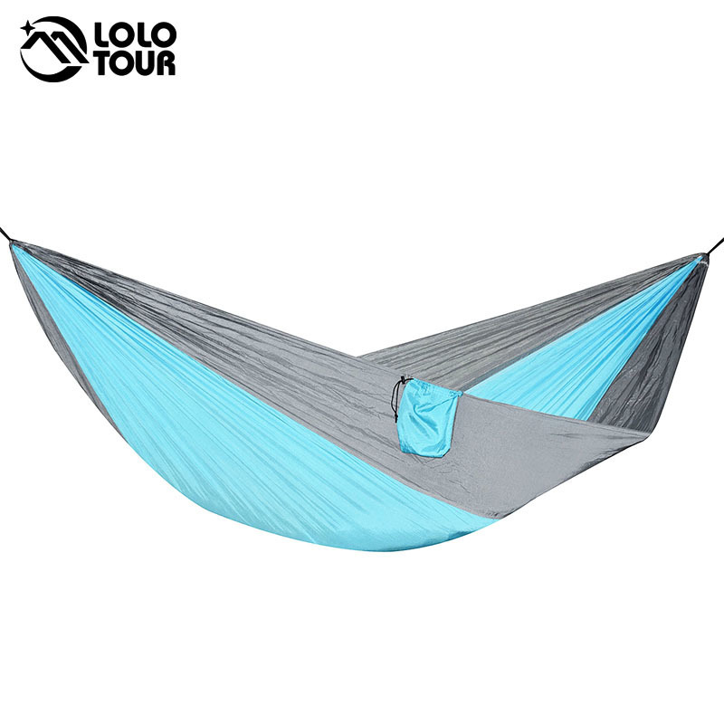 210T Nylon Camping Parachute Hammock 2 Person Large Hamac Swing Sleeping Bed Outdoor Survival Hanging Chair Hamak 270*140cm outdoor double hammock portable parachute cloth 2 person hamaca hamak rede garden hanging chair sleeping travel swing hamac