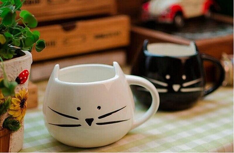 1pcs Animal Coffee Milk Cat Cup,ceramic black and white Cat mug, milk coffee mug Christmas Gift (White/Black)