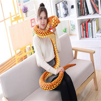 Super long 210cm Cobra plush toy animal plush toys imitation snake spoof toy Funny Gift for Children Kids Party Toys