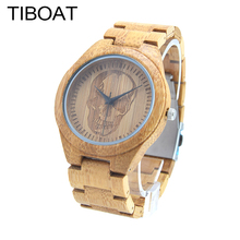 TIBOAT M7Z Top Brand Luxury Men Watch Skull Head Natural All Bamboo Wood Watches  With Japanese Movement For Gift 2017