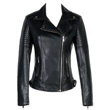 Women Short Slim Faux PU Leather Jacket Ladies 2018 Spring New Europe Fashion Street Zipper Basic Jackets Coat Female Outerwear