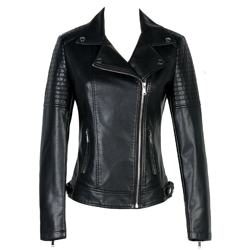 Women Short Slim Faux PU   Leather   Jacket Ladies 2018 Spring New Europe Fashion Street Zipper Basic Jackets Coat Female Outerwear