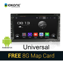 IOKONE Android 4.4 Car DVD Player For Universal / Interchangeable with GPS radio,multimedia,video,bluetooth,navi FREE SD card