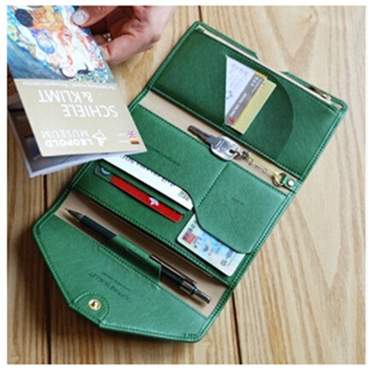 efcd73aae2f Multifunctional Solid Women Passport Cover Travel Storage Long Wallet  Document Ladies Passport Travel ID Credit Document Pouch