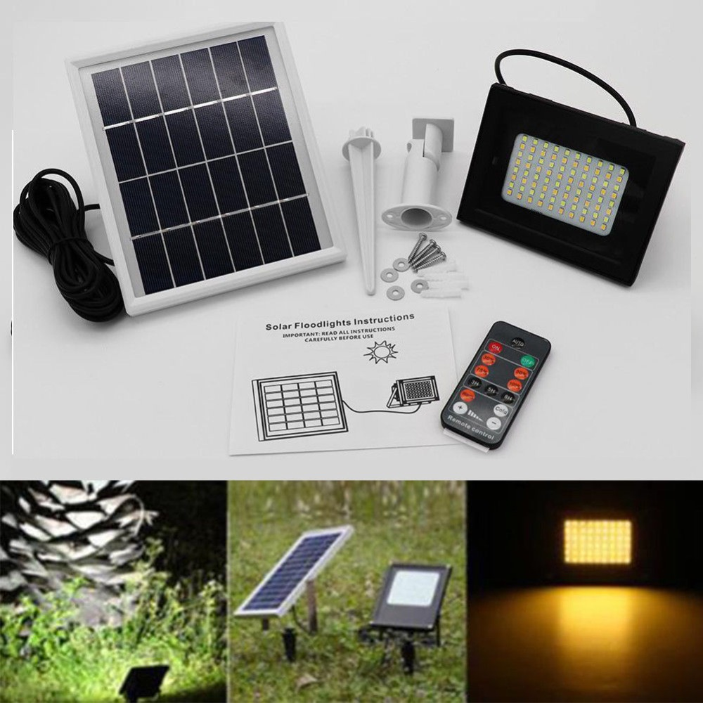 80 LED Dual Color Remote Solar Light Sensor Flood Spot Light Garden Outdoor Park Corridor Security Lamp for Garden Garage Lawn P