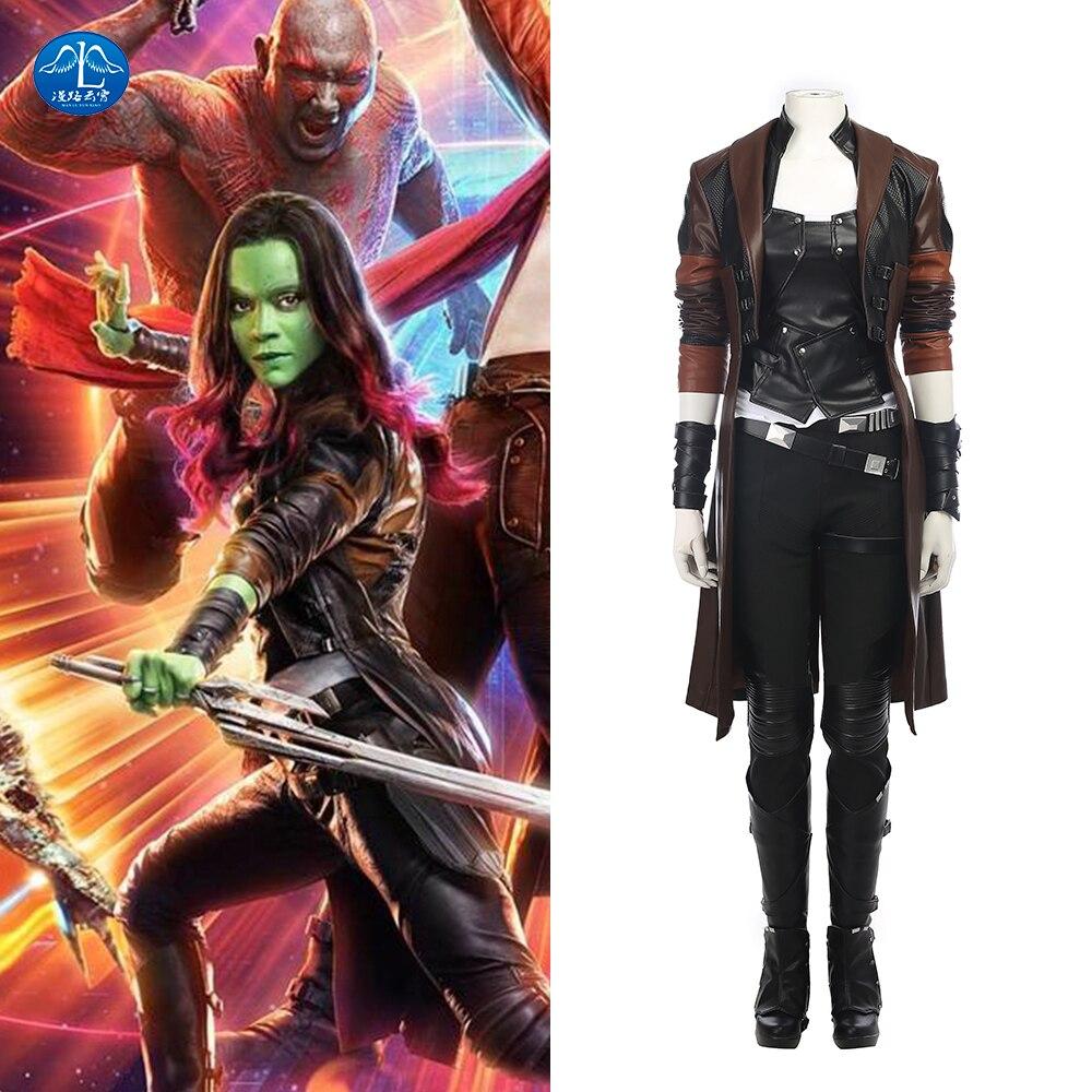MANLUYUNXIAO Guardians of The Galaxy 2 Cosplay Costume Gamora Cosplay Full Set Superhero Halloween Party Women Adult Custom Made