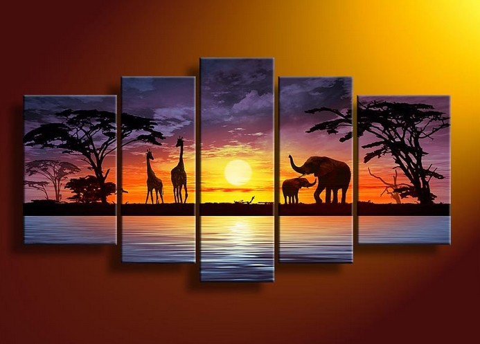 Handpainted 5 Piece Abstract Oil Paintings On Canvas Wall