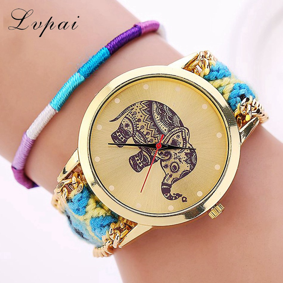 Lvpai Brand Women Fashion Luxury Watch Gold Handmade Braided Wristwatch Chinese Style Elephant Casual Dress Quartz Watch LS030