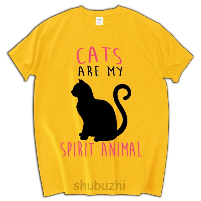 73322b9b8cf cat lover tees shirt men cotton tee shirts Cats Are My Spirit Animal t-shirt  man funny summer streetwear shubuzhi brand
