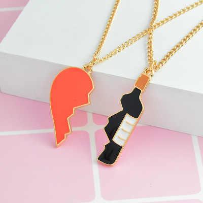 152707d297 ... 2 Pieces Half Love Heart And Wine Pendant Necklace Best Friend  Girlfriend Boyfriend Couple Lovers Jewelry ...