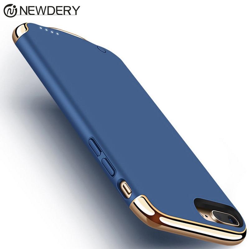Caixa de bateria Para 7 Mais de 4000 mAh. 3in1 Luxo Ultra Fino Matte Chapeamento Textura de Metal caixa do telefone para o iphone 6 6 S 7 8 Plus