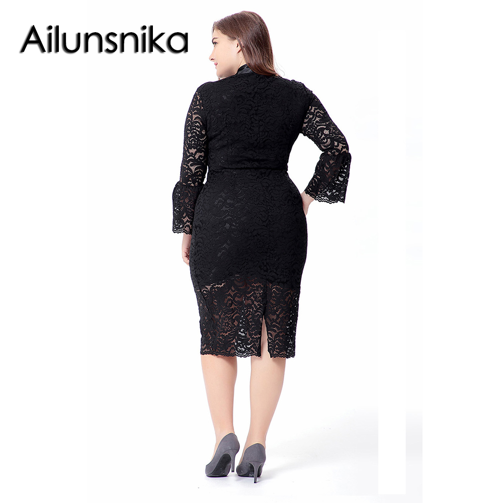 687f6555fd6 Ailunsnika 2018 Women Elegant Lace Dress Autumn Long Flare Sleeve Midi  Dress Formal Plus Size Bodycon Dresses Vestidos SQ0081