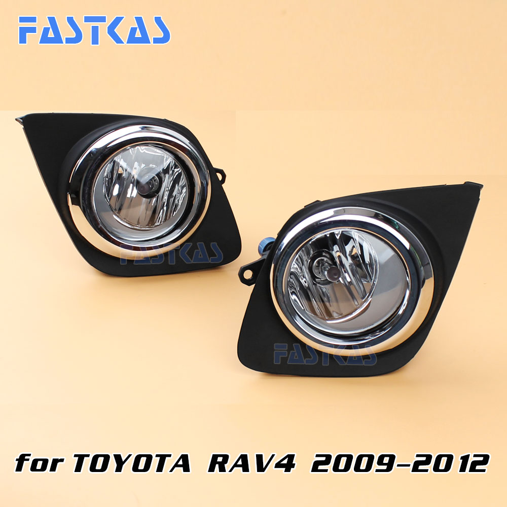 12v Car Fog Light Assembly for Toyota RAV4 2009-2012 Front Left and Right set Fog Light Lamp with Harness Relay Fog Light 12v 55w car fog light assembly for ford focus hatchback 2009 2010 2011 front fog light lamp with harness relay fog light