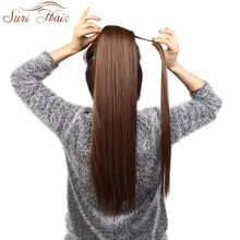 Suri Hair 24 '' Long Silky Straight Ponytails Clip In Syntetisk Pony Stjärt Värmebeständigt Fake Hair Extension Wrap Round Hairpiece